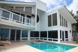 New Replacement Windows on Contemporary Home with Pool