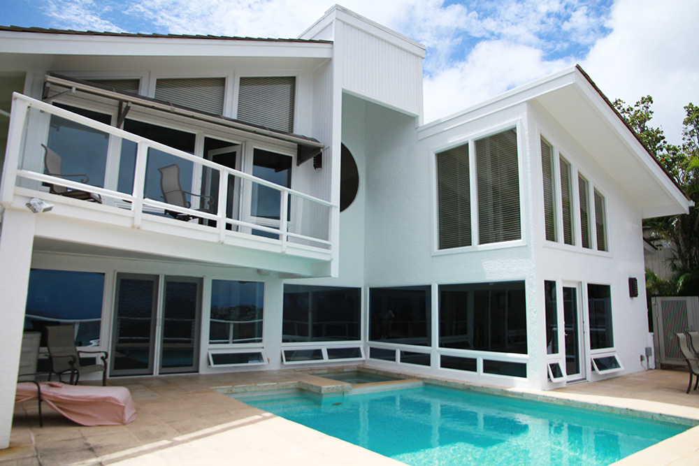 new windows next to pool side