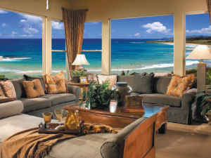 View of Beach thru New Windows in Hawaii
