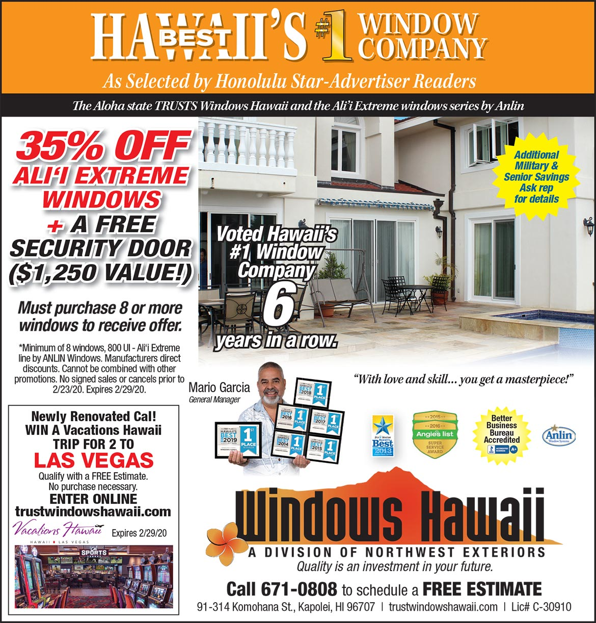 Windows Hawaii Special Offer 2/23/20